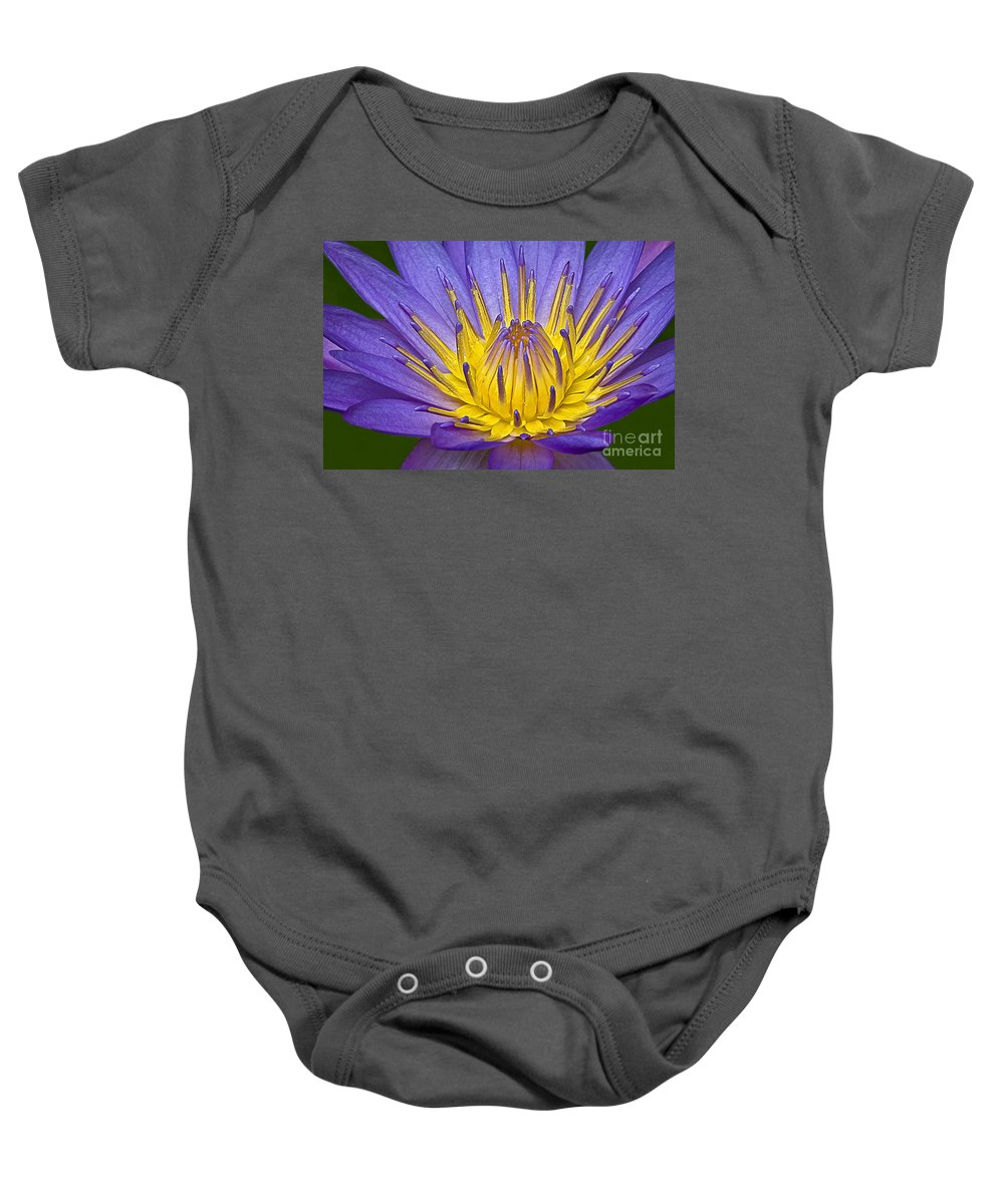Flower Baby Onesie featuring the photograph Heart Of Gold by Susan Candelario