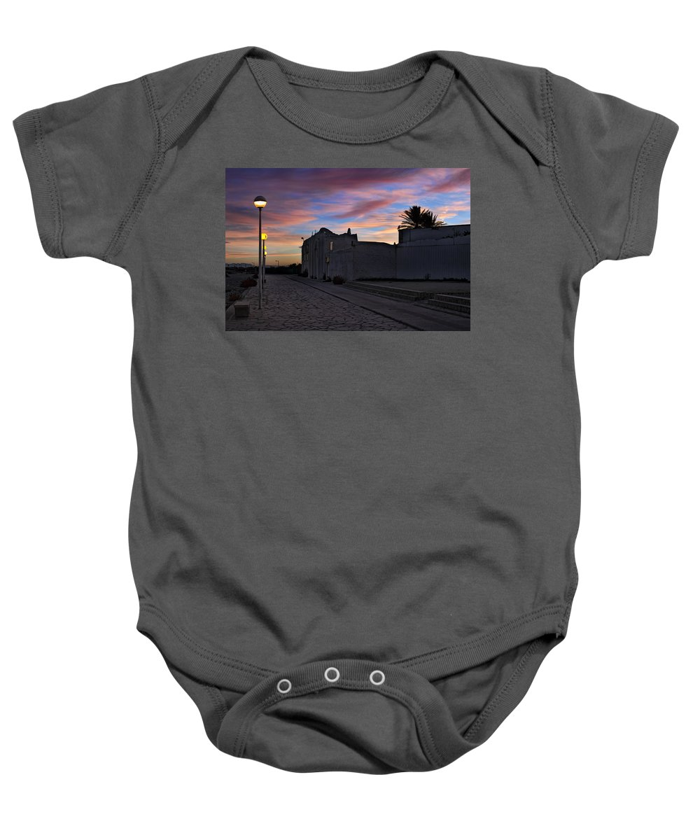 Landscape At Sunset Baby Onesie featuring the photograph Here Goes The Sun Across The Atlantic by Juan Carlos Ferro Duque