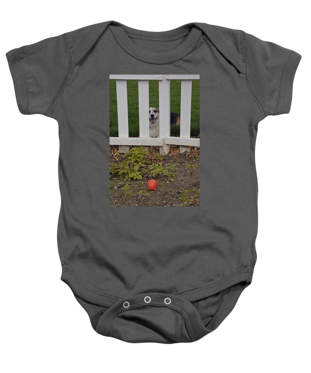 Johnny Baby Onesie featuring the photograph Hey Gimme Da Ball by Mick Anderson