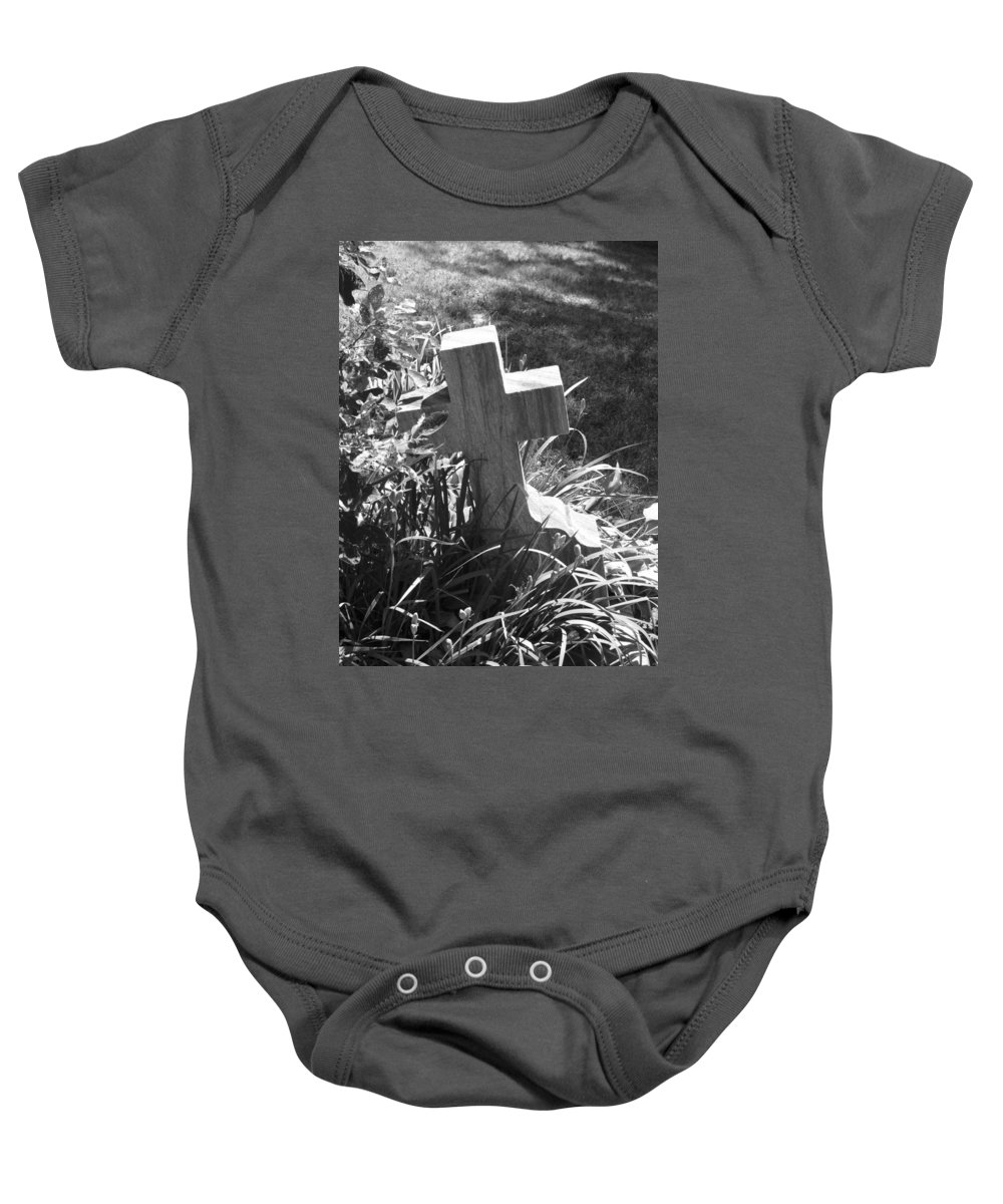 Cross Baby Onesie featuring the photograph Hiding by Michele Nelson