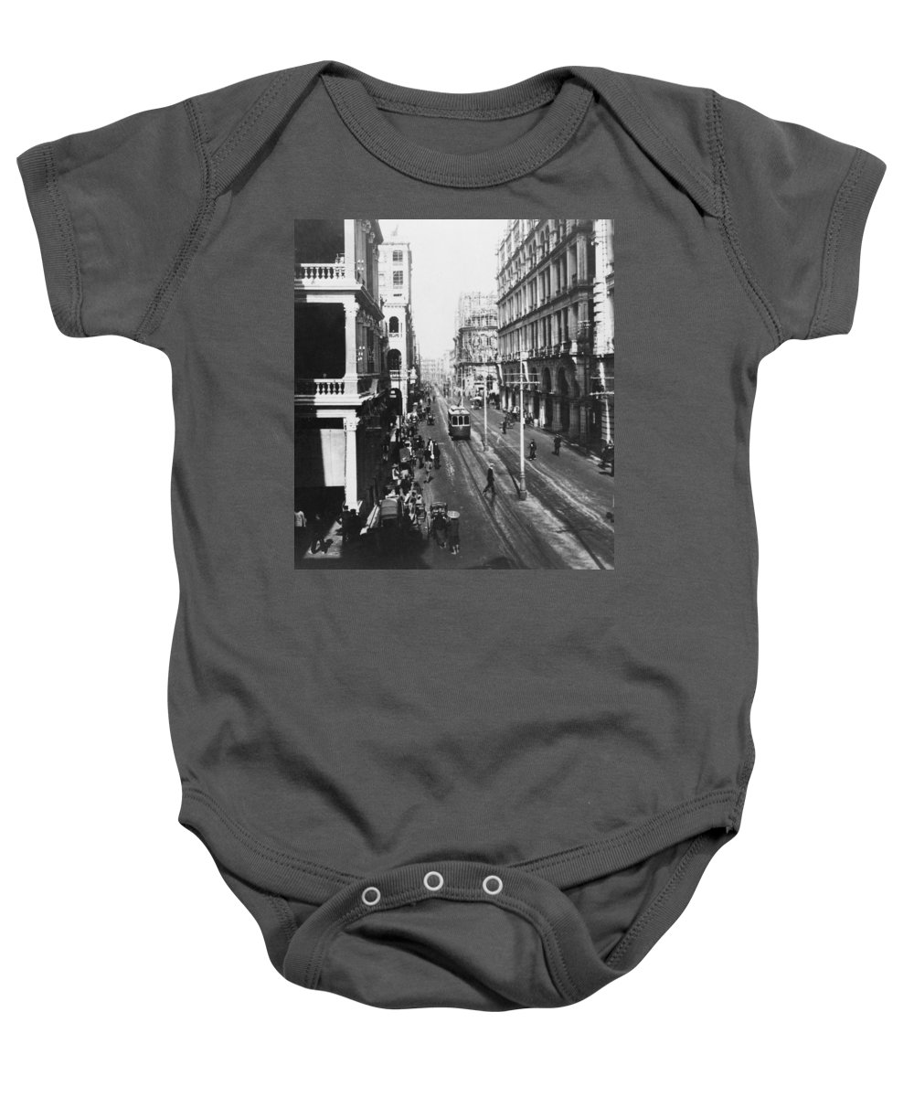 hong Kong Baby Onesie featuring the photograph Hong Kong Vintage Street Scene - C 1913 by International Images