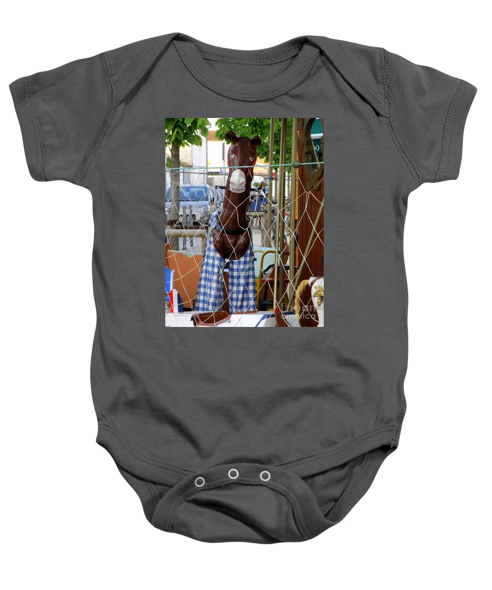 Horse Baby Onesie featuring the photograph Horsing Around by Lainie Wrightson