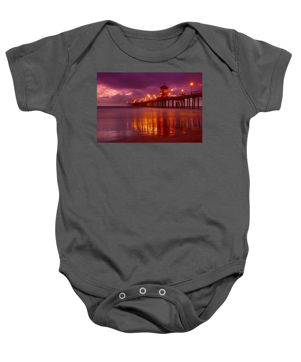 Horizontal Baby Onesie featuring the photograph Huntington Beach At Night by Don Hammond