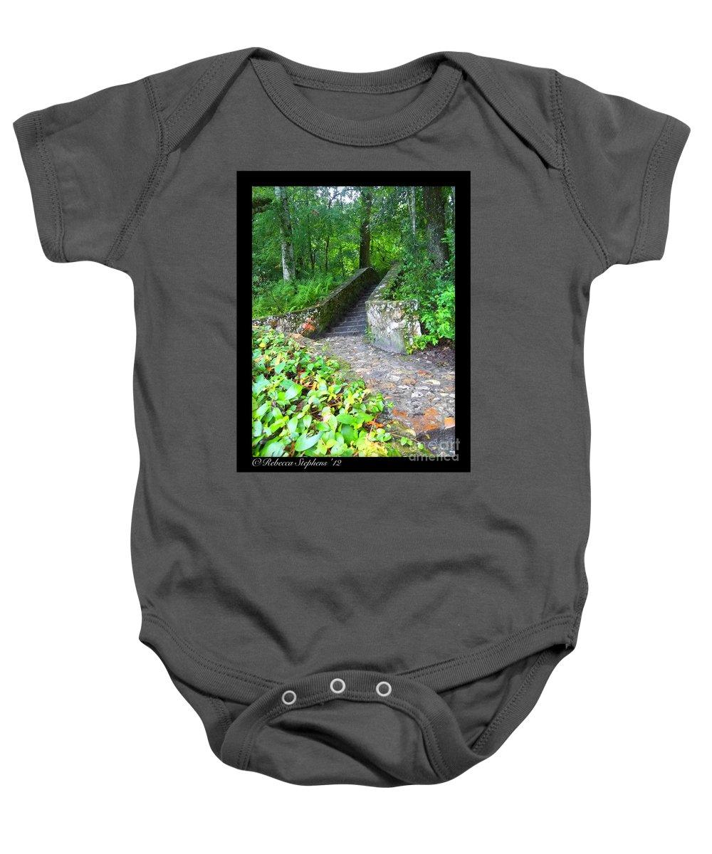 Ichetucknee Springs Baby Onesie featuring the photograph Ichetucknee Stairway by Rebecca Stephens