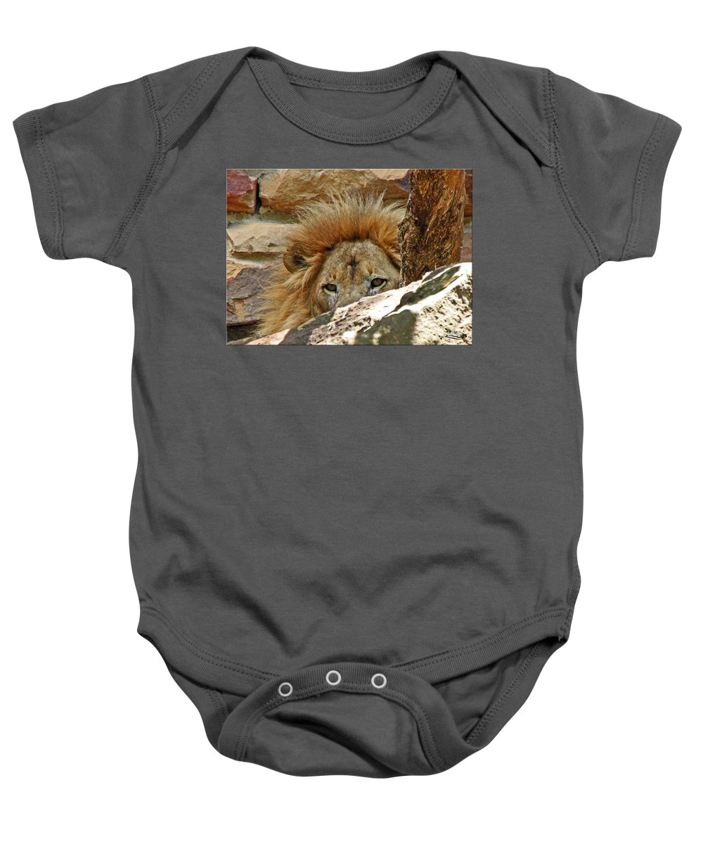 African Baby Onesie featuring the photograph I'm Watching You by Rebecca Morgan