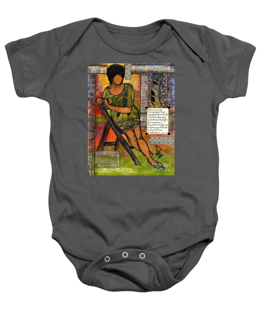 Woman Baby Onesie featuring the mixed media In Every True Woman by Angela L Walker