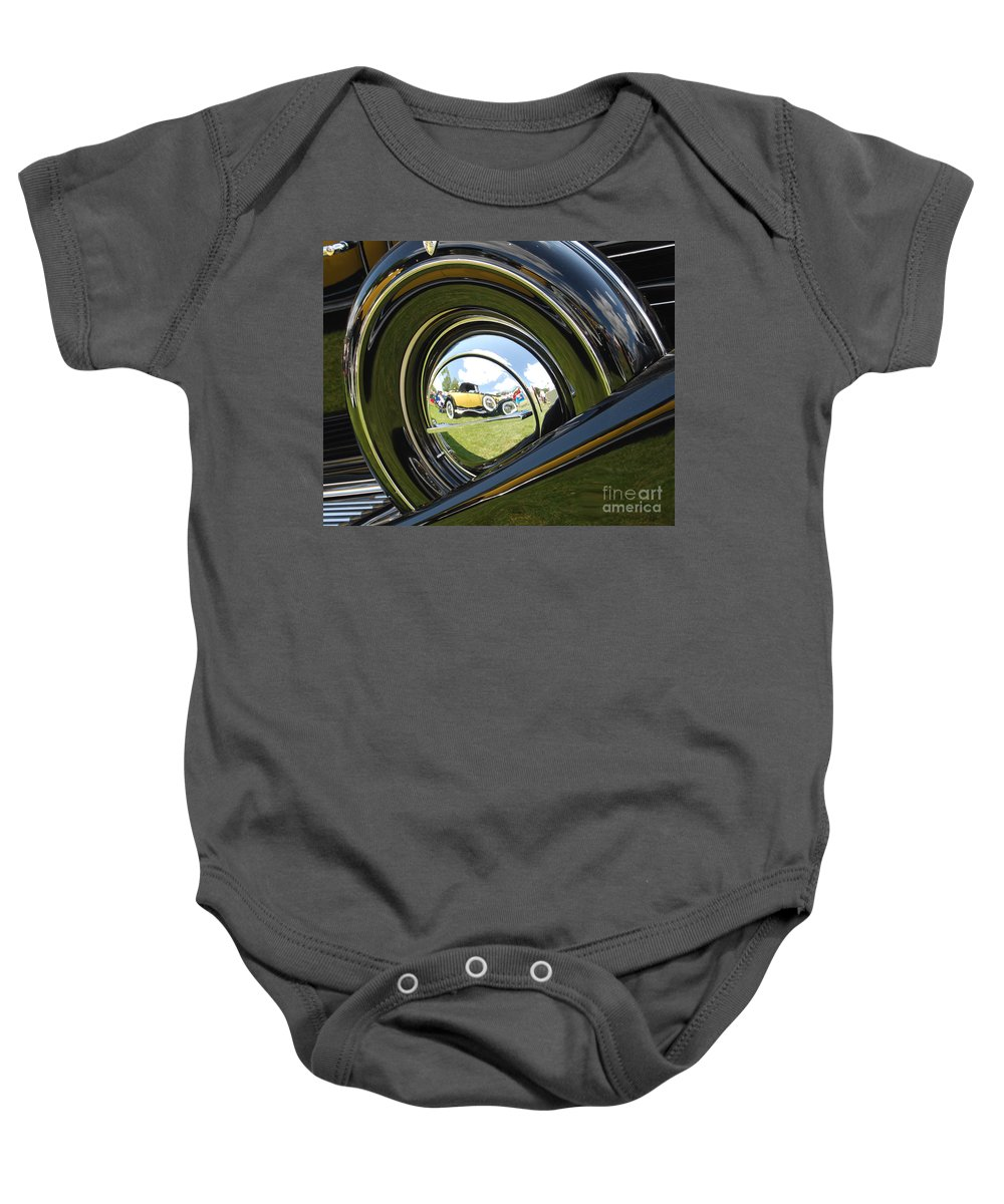 Hub Cap Baby Onesie featuring the photograph In The Hub by Grace Grogan