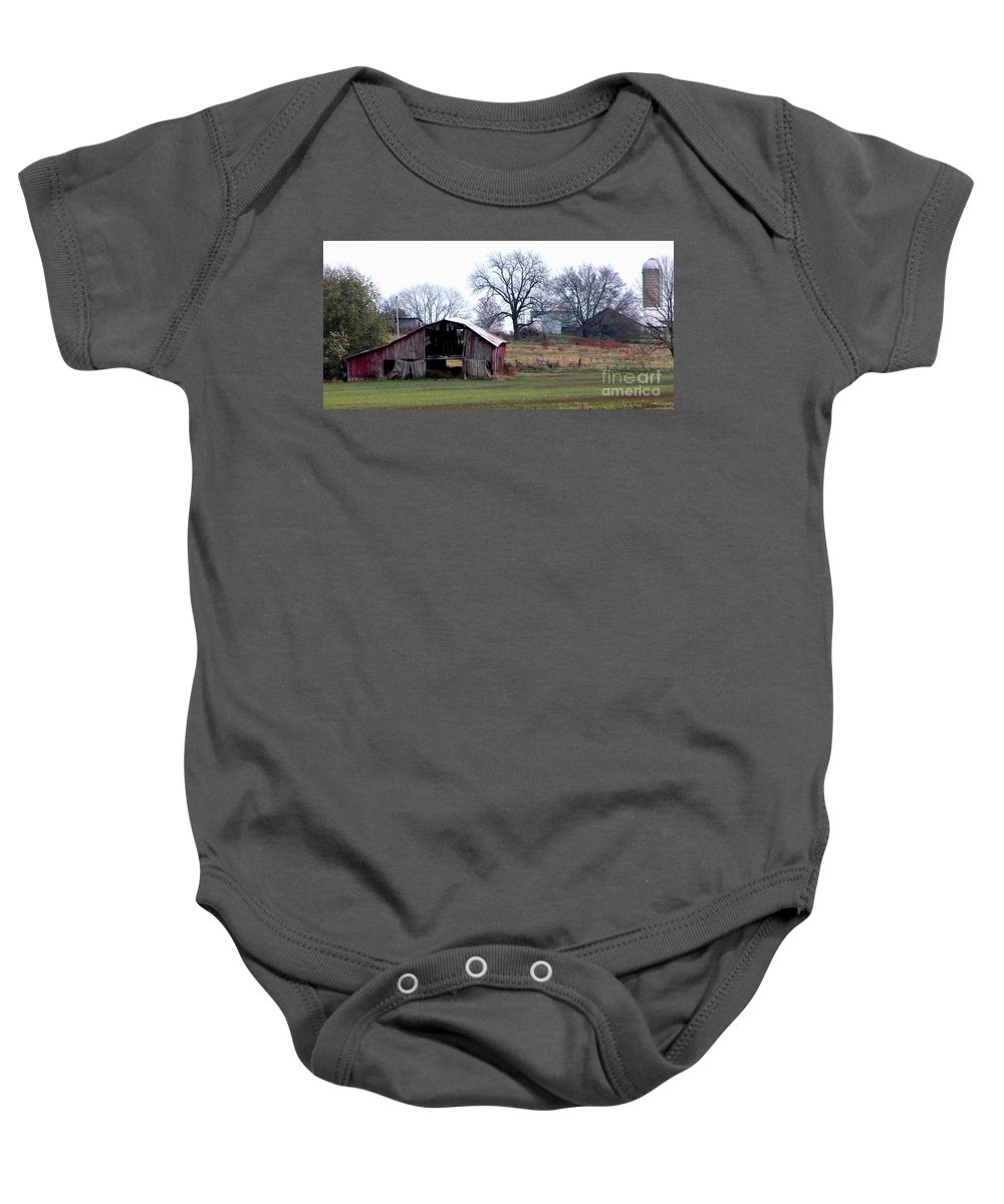 Barn Baby Onesie featuring the photograph Indiana by Peggy Starks
