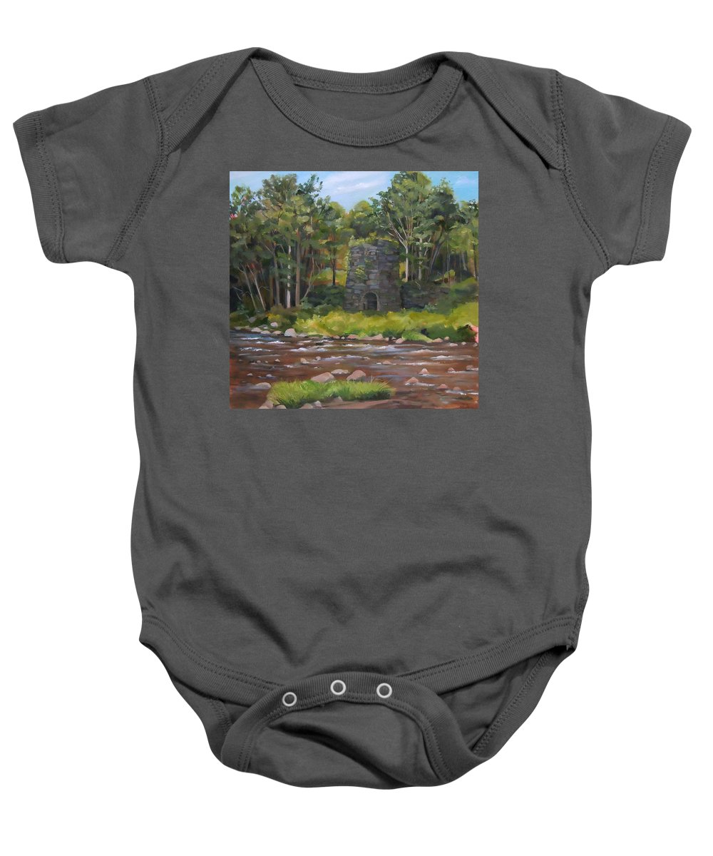 Iron Baby Onesie featuring the painting Iron Furnace Of Franconia New Hampshire by Nancy Griswold