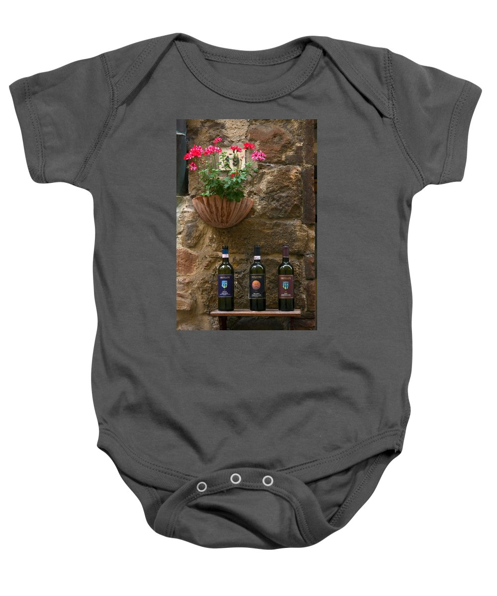 3 Bottles Baby Onesie featuring the photograph Italian Wine And Flowers by Sally Weigand