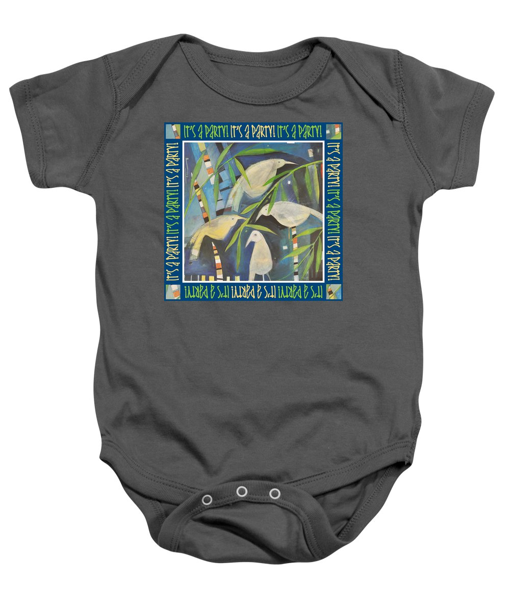 Birds Baby Onesie featuring the painting Its A Party Poster Image by Tim Nyberg