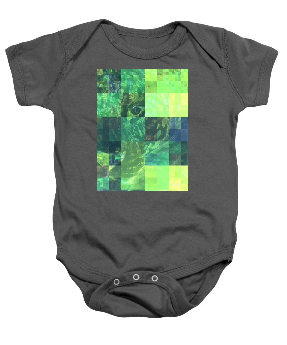 Leopard Paintings Baby Onesie featuring the photograph Jaguar Graph Geo Green by Mayhem Mediums