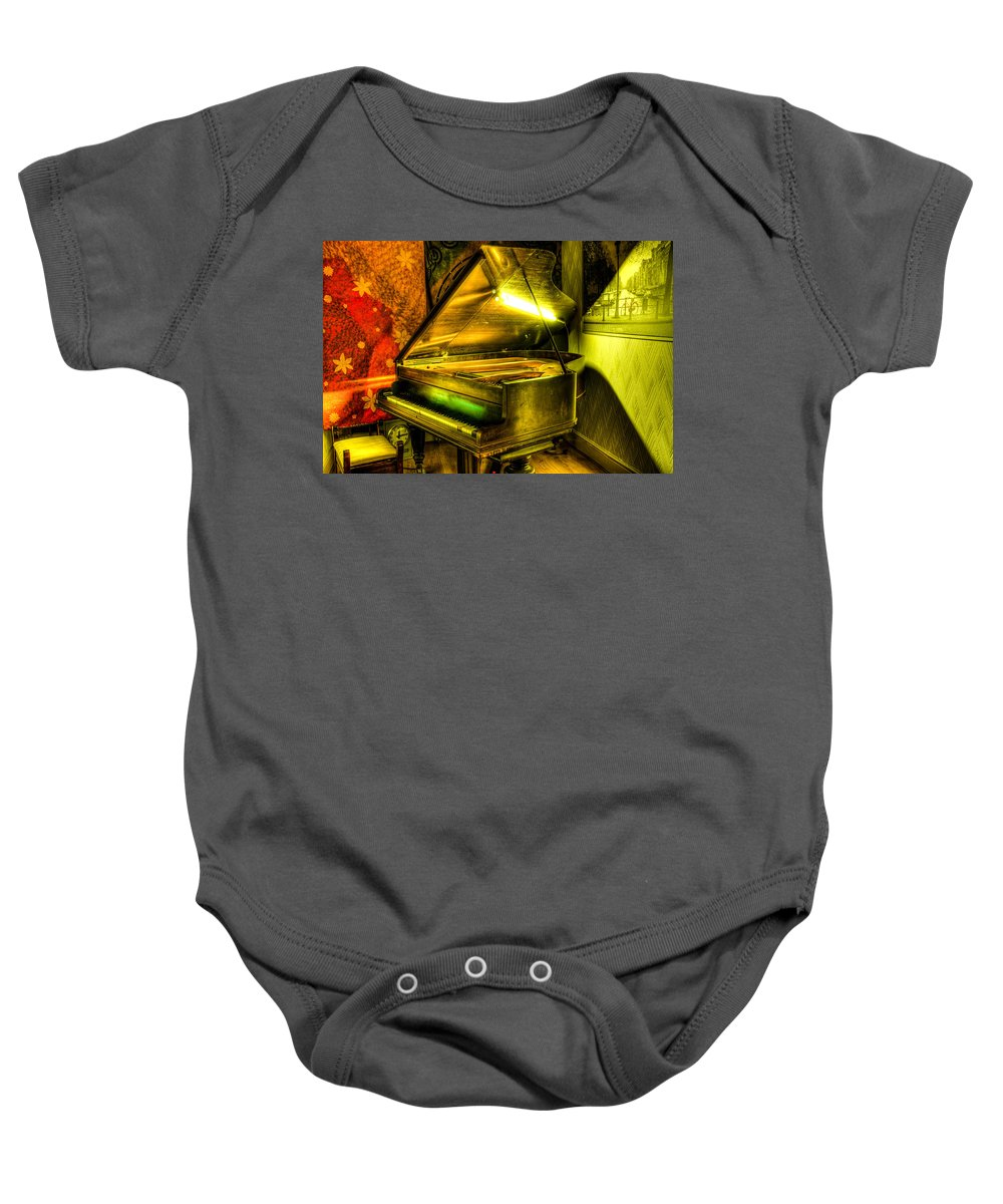 1908 Baby Onesie featuring the photograph John Broadwood And Sons Grand Piano by Semmick Photo