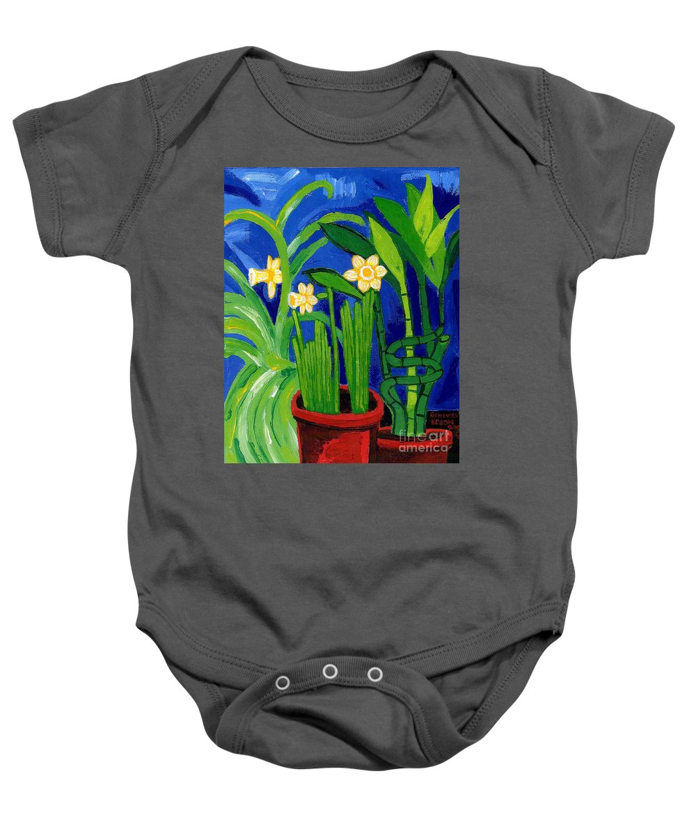 Jonquils Baby Onesie featuring the painting Jonquils And Bamboo Plant by Genevieve Esson