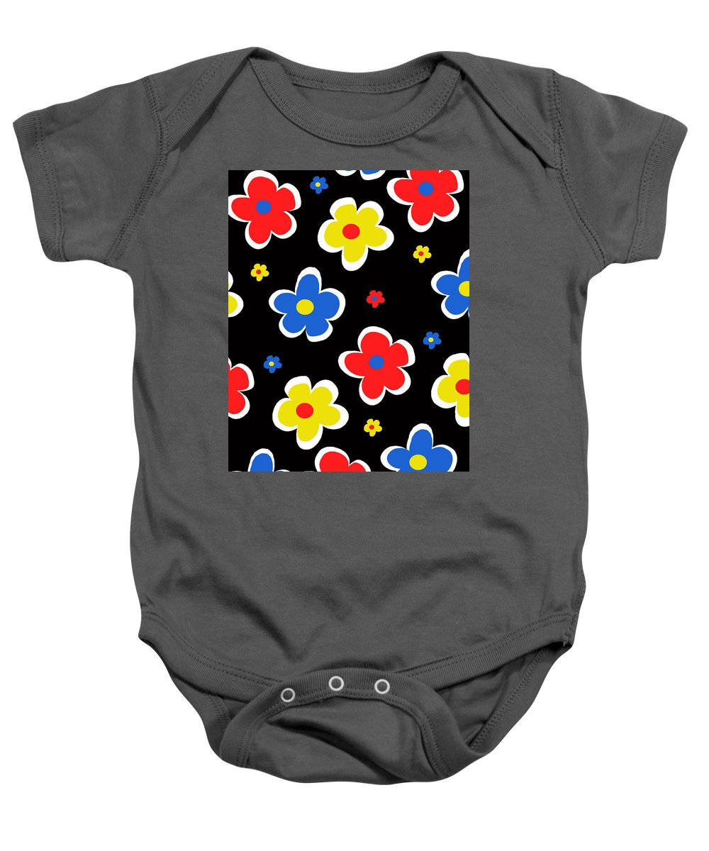 Louisa Baby Onesie featuring the digital art Junior Florals by Louisa Knight