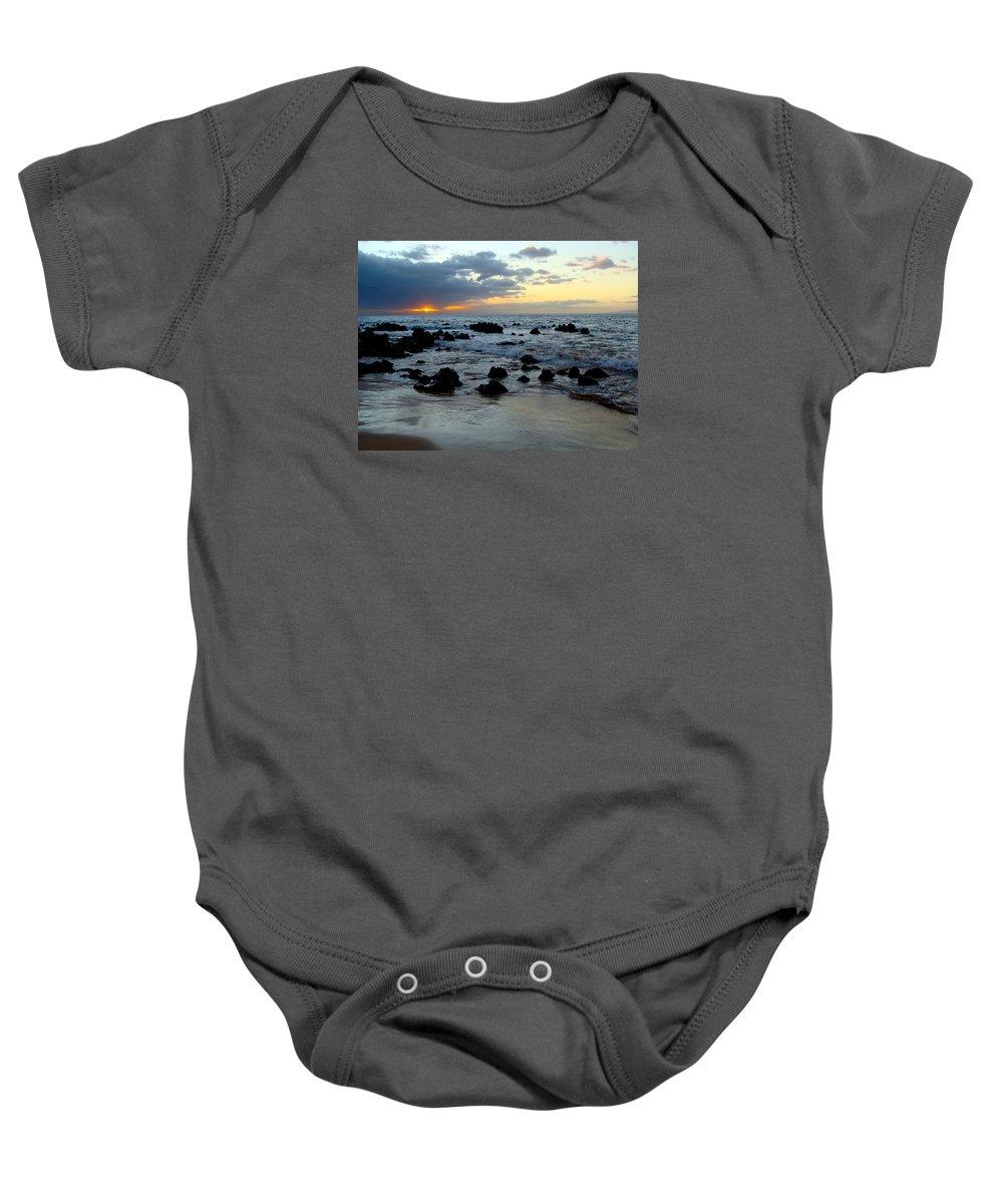 Keaweakapu Baby Onesie featuring the photograph Keaweakapu Beach Sunset by Karon Melillo DeVega