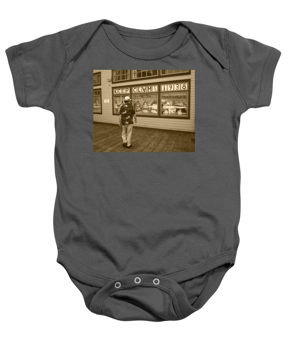 Keep Clam Baby Onesie featuring the photograph Keeping Clam Since 1938 by Kym Backland