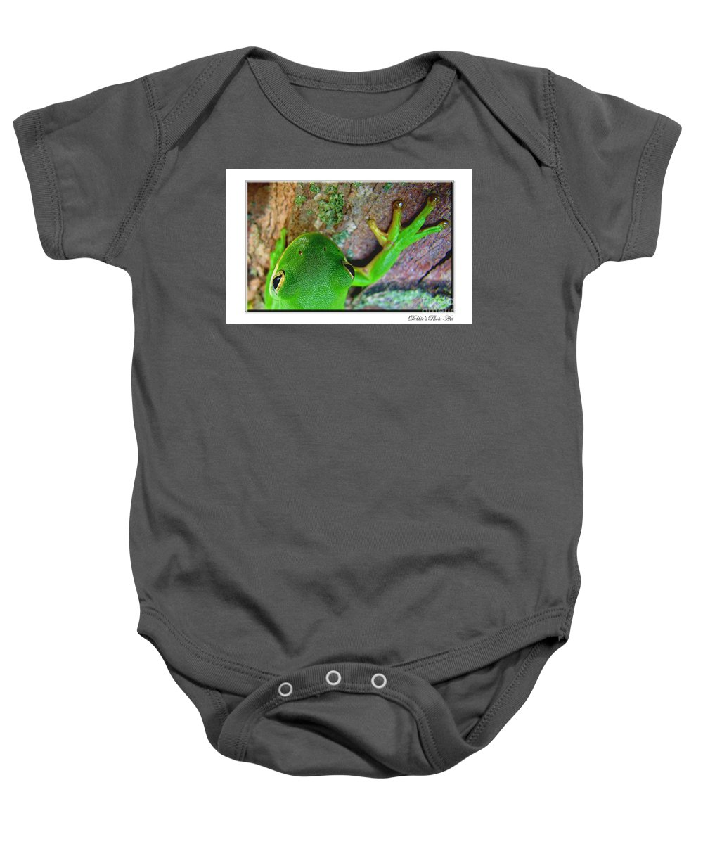 Nature Baby Onesie featuring the photograph Kermit's Kuzin by Debbie Portwood
