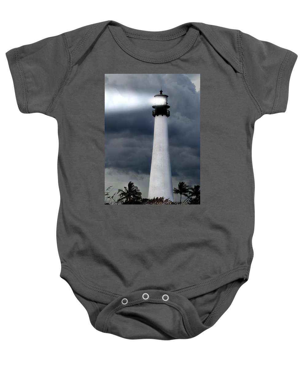 Aurora Baby Onesie featuring the photograph Key Biscayne Lighthouse by Rudy Umans