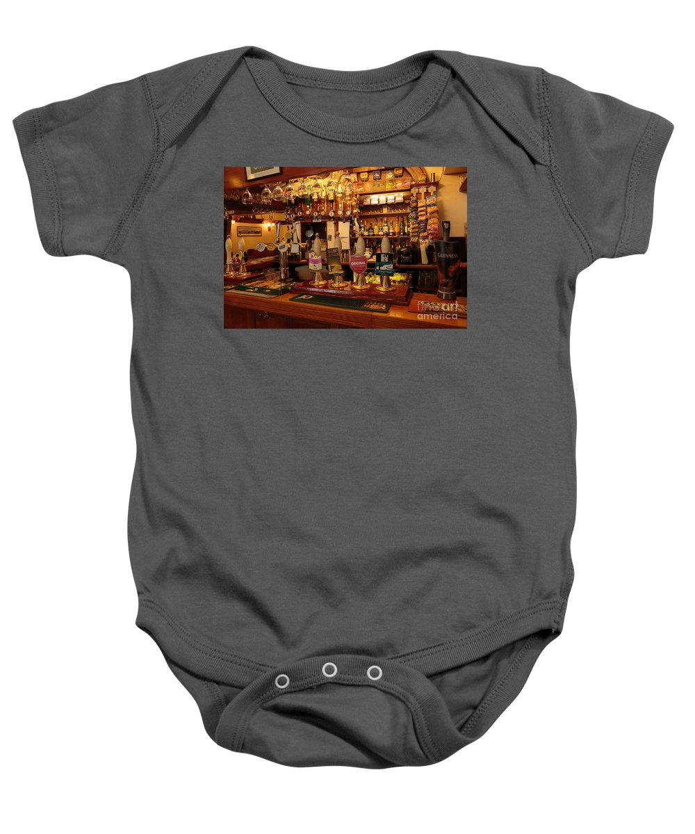 Kings Head Baby Onesie featuring the photograph Kings Head Pub Kettlewell by Louise Heusinkveld