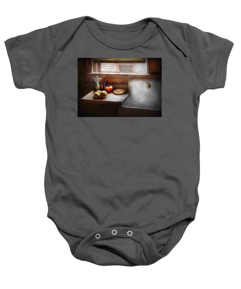 Hdr Baby Onesie featuring the photograph Kitchen - Sink - Farm Kitchen by Mike Savad