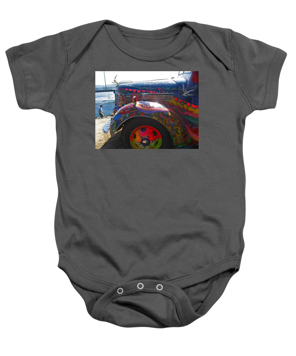 Colorful Kool Aid Acid Test Bus.. Baby Onesie featuring the photograph Kool-aid Bus by Kym Backland