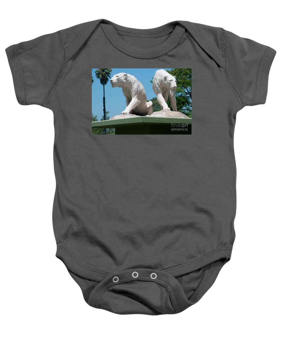 California Baby Onesie featuring the digital art La Brea Tar Pits by Carol Ailles