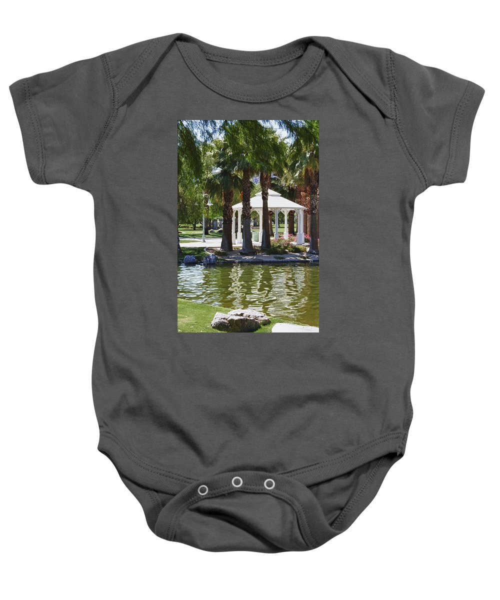 Flower Baby Onesie featuring the photograph La Quinta Park Summer by Linda Dunn
