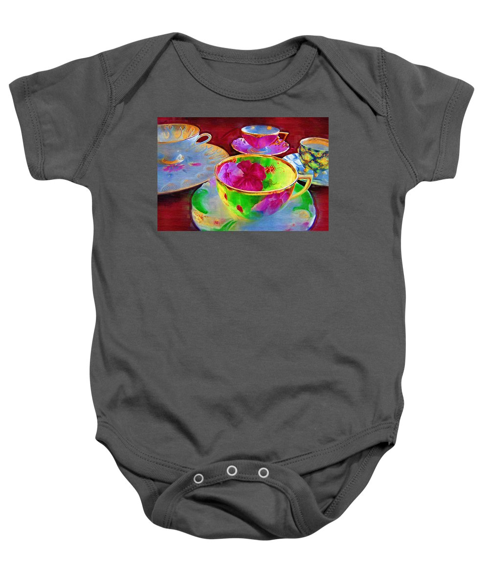 Teacups Baby Onesie featuring the photograph Ladies Tea Time by Kathy Clark