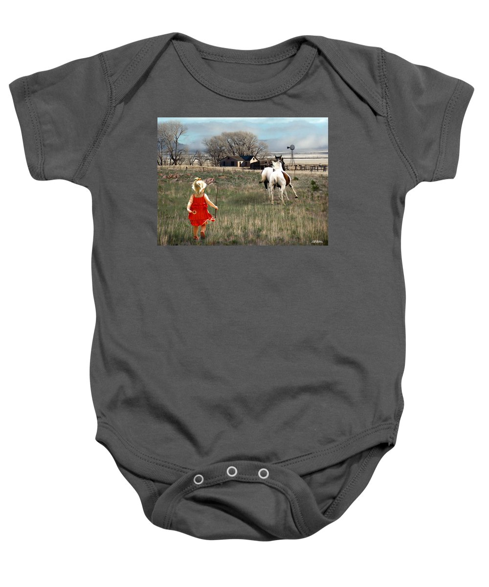 Children Baby Onesie featuring the digital art Lady In Red by Bill Stephens