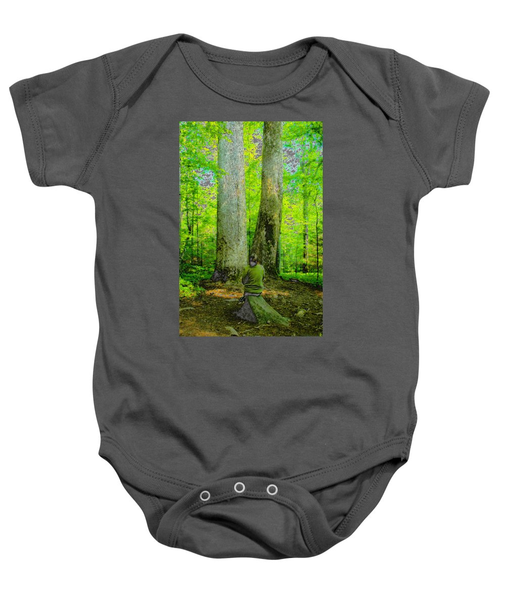 Art Baby Onesie featuring the painting Lady In The Woods by David Lee Thompson