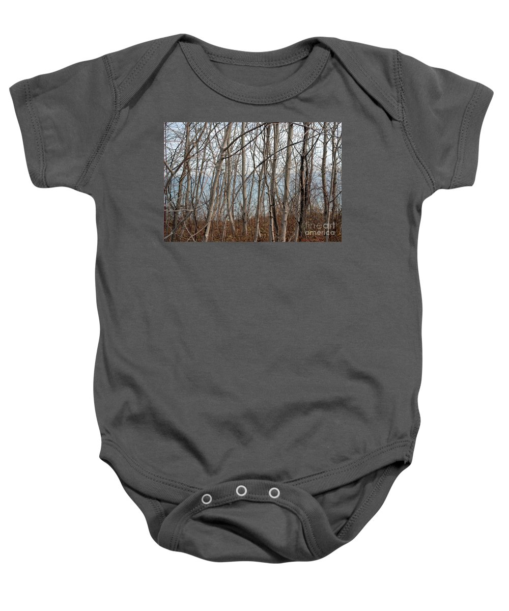Trees Baby Onesie featuring the photograph Lake Beyond The Trees by Dyana Rzentkowski