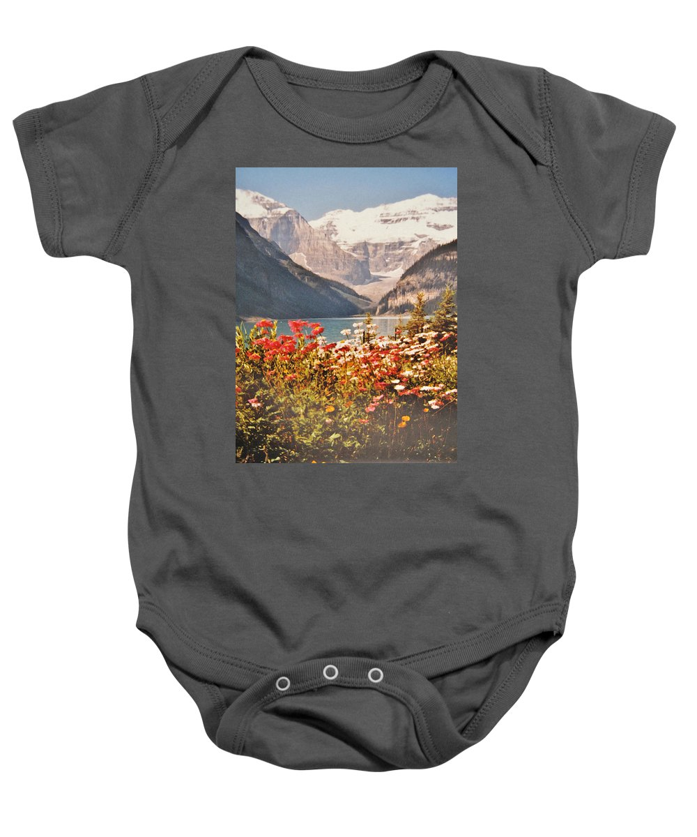Mountains Baby Onesie featuring the photograph Lake Louise Alberta by Ian MacDonald