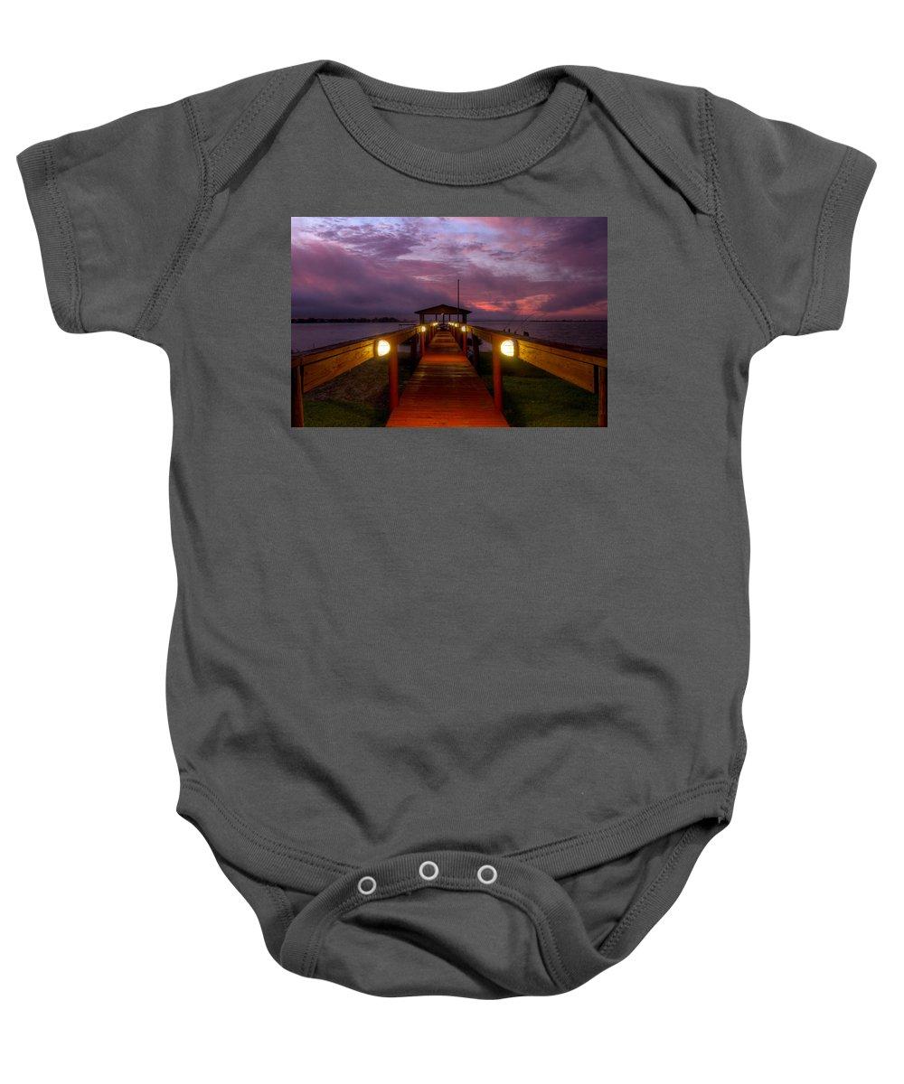Clouds Baby Onesie featuring the photograph Landing Lights by Debra and Dave Vanderlaan
