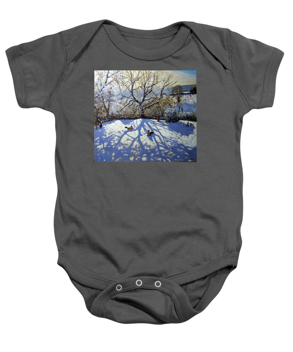 Sledge Baby Onesie featuring the painting Large Tree And Tobogganers by Andrew Macara