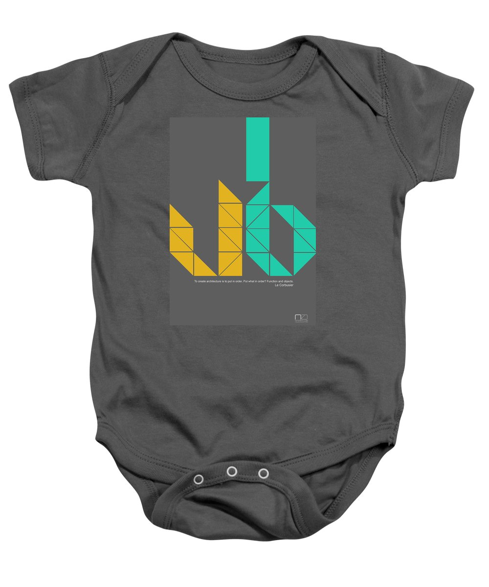 Baby Onesie featuring the digital art Le Corbusier Quote Poster by Naxart Studio