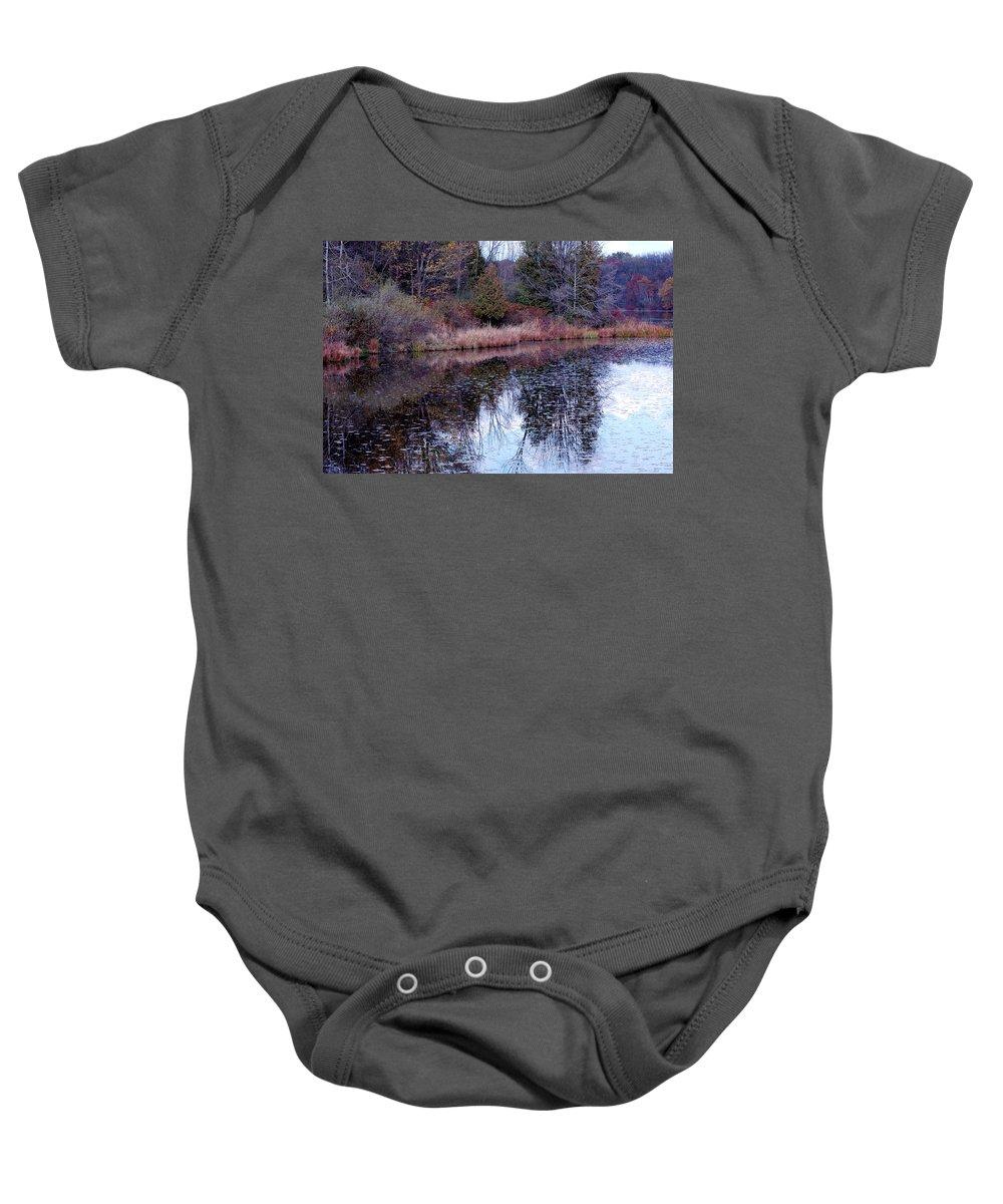 Usa Baby Onesie featuring the photograph Leaves On Water by LeeAnn McLaneGoetz McLaneGoetzStudioLLCcom