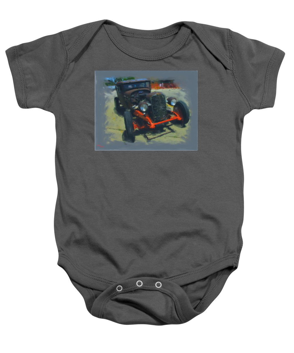 Car Baby Onesie featuring the mixed media Let's Ride by Adam Vance