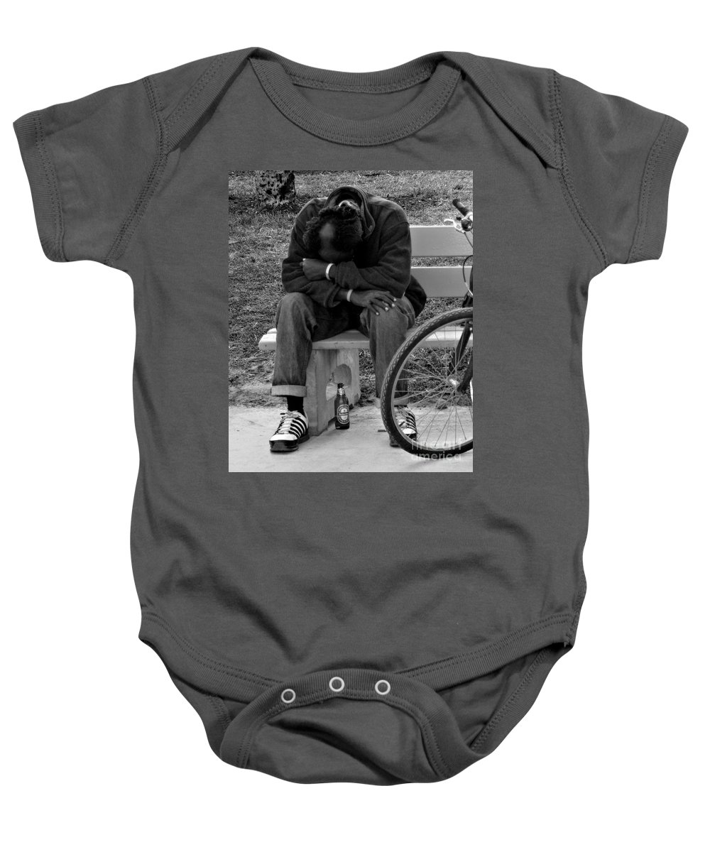Man Baby Onesie featuring the photograph Life Is Hard by Barbara McMahon