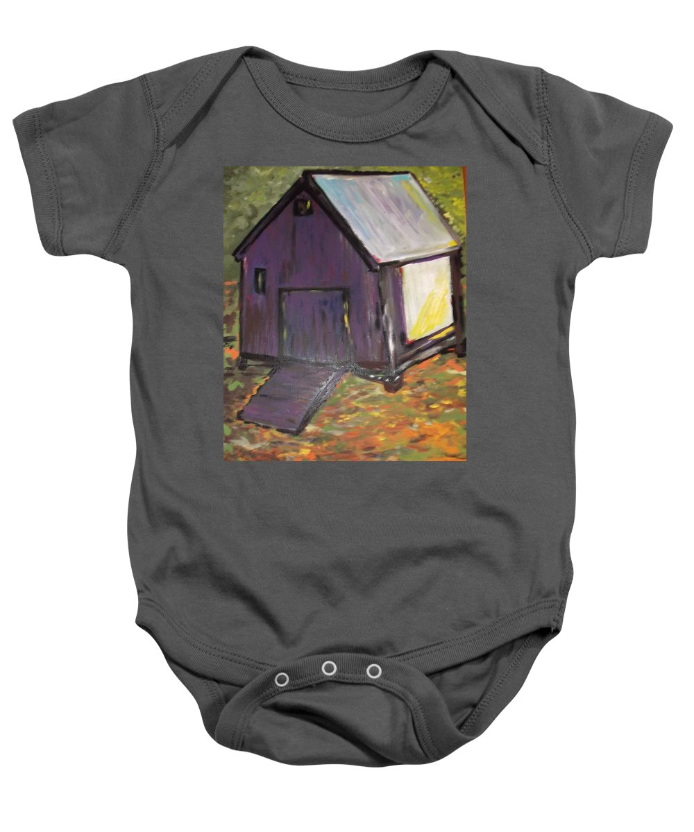 Purple Baby Onesie featuring the painting Light Cast Shadows by Clare Ventura