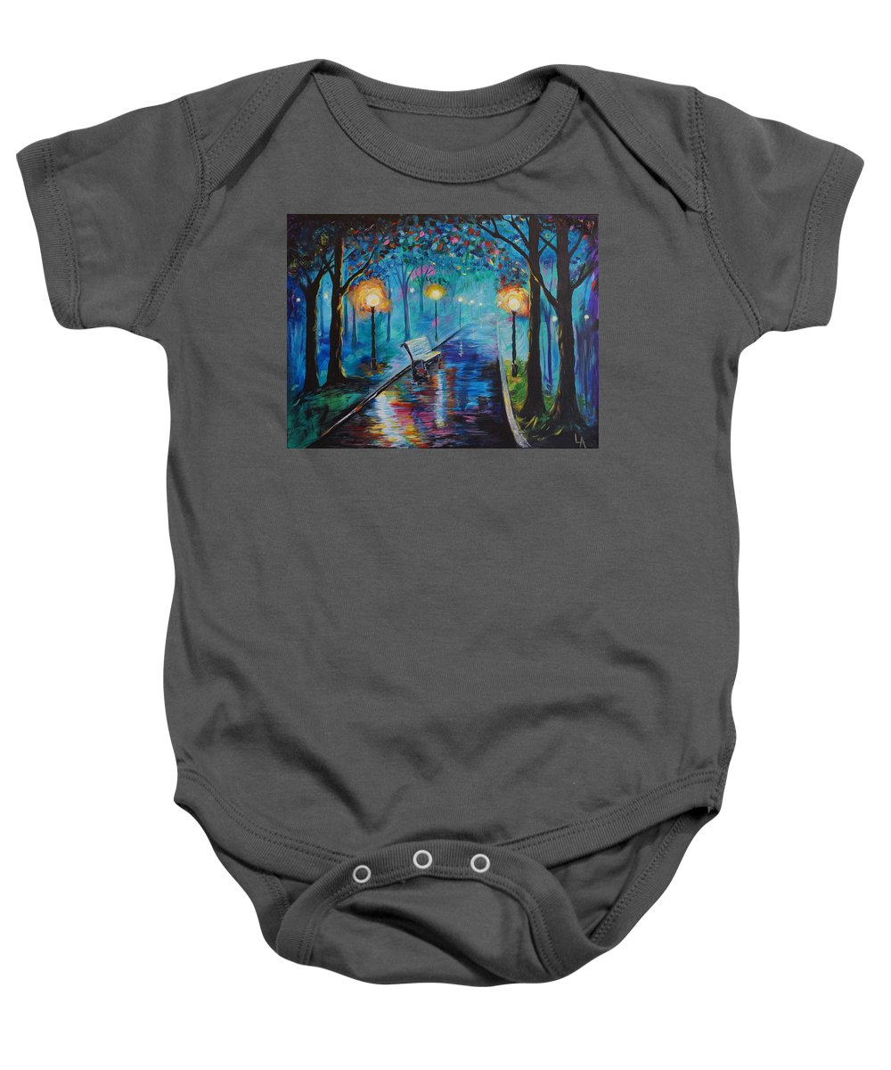 Bench Baby Onesie featuring the painting Lighted Park Path by Leslie Allen