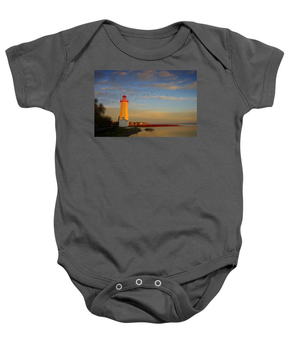 Animal Baby Onesie featuring the photograph Lighthouse, Sylvan Lake, Alberta, Canada by Christine Mariner