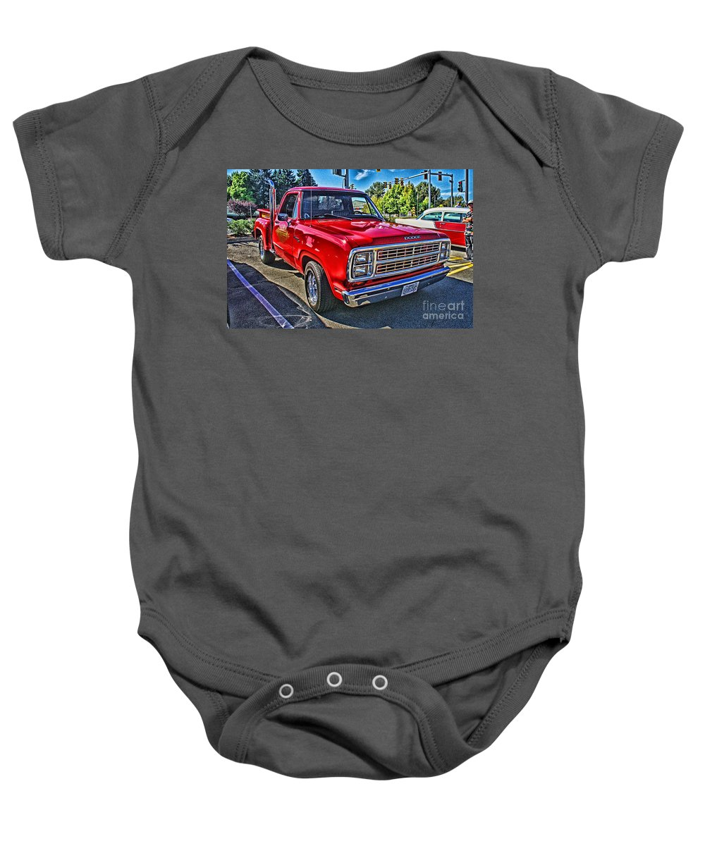 Cars Baby Onesie featuring the photograph Little Red Express Hdr by Randy Harris