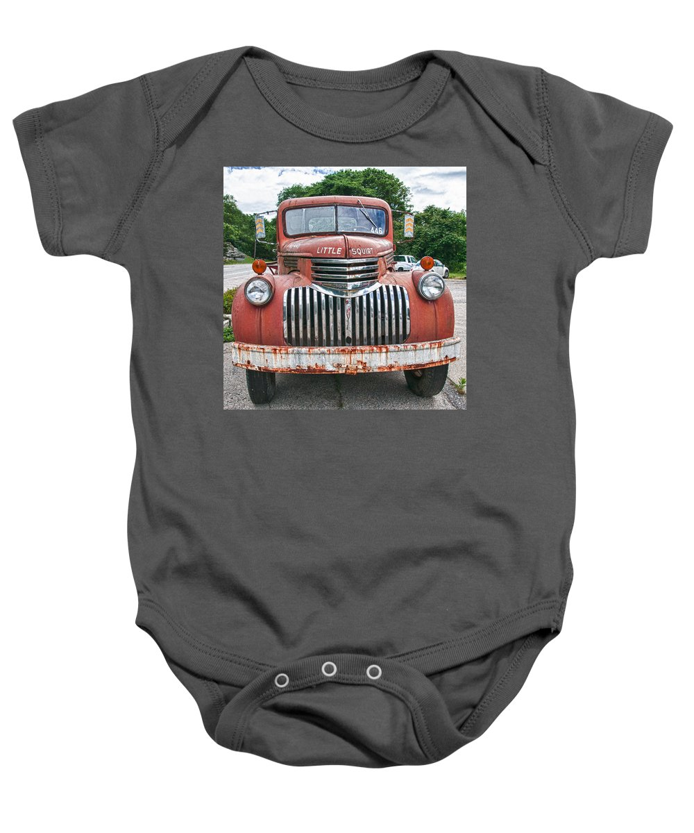 Chevrolet Fire Truck Baby Onesie featuring the photograph Little Squirt 15371 by Guy Whiteley