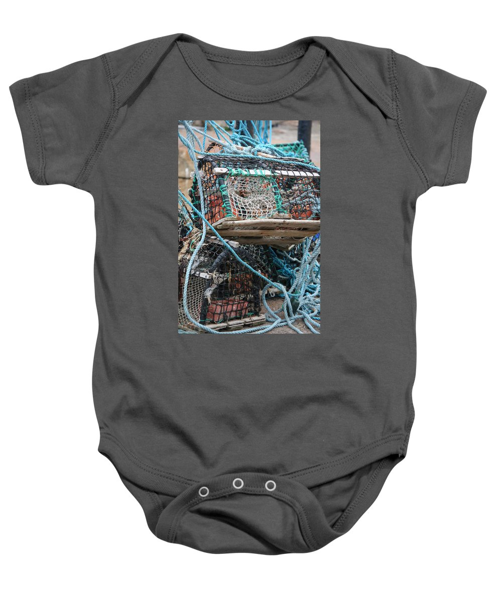 Lobster Pot Baby Onesie featuring the photograph Lobster Pot by Carol Ann Thomas