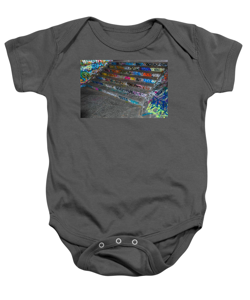 Street Art Baby Onesie featuring the photograph London Skatepark 4 by Jonah Anderson