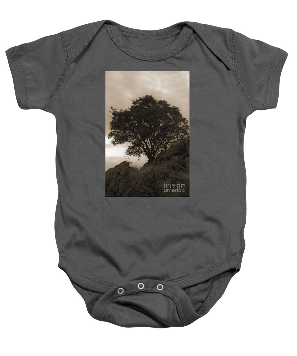 Lone Baby Onesie featuring the photograph Lone Oak 2 Sepia by Jim And Emily Bush