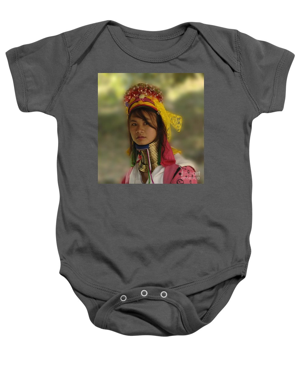 Thailand Baby Onesie featuring the photograph Long Neck Beauty Karen Tribe by Bob Christopher
