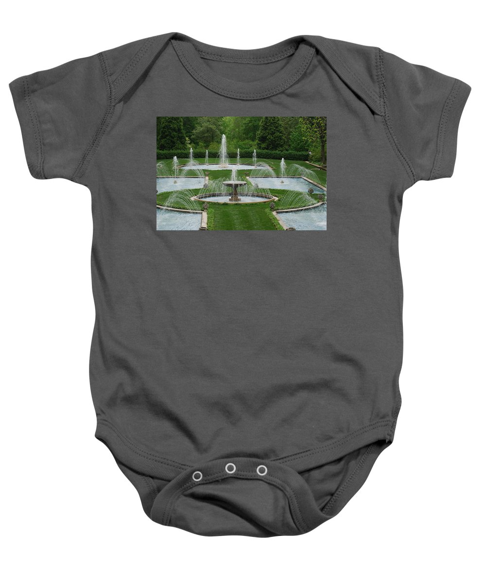 Fountain Baby Onesie featuring the photograph Longwood Fountains 3 by Richard Bryce and Family