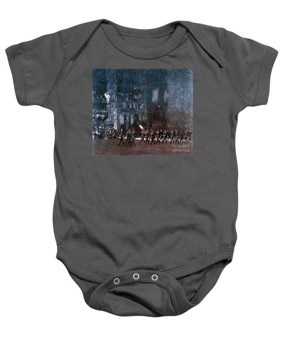 1918 Baby Onesie featuring the painting Luks - Blue Devils 1918 by Granger